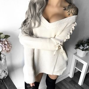 Boutique Sweaters - ➳ Boutique Cream Lace Up Sweater